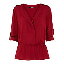 Buy Oasis Peplum Shirt, Rich Red Online at johnlewis.com