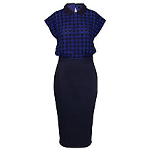 Buy French Connection Flora Flower Dress, Bold Blue/Electric Purple Online at johnlewis.com