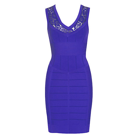 Buy French Connection Katie Crepe Dress, Electric Purple Online at johnlewis.com