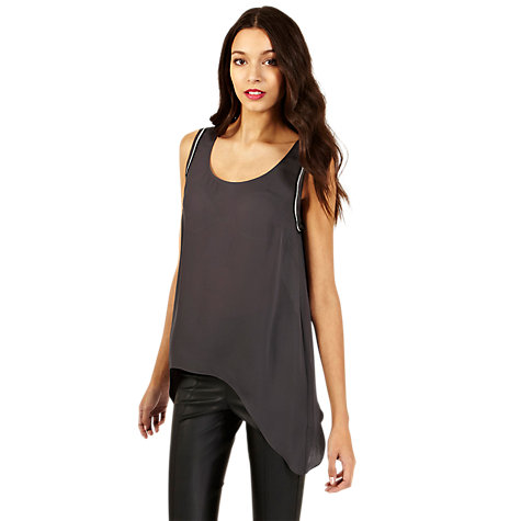 Buy Oasis Asymmetric Chain Trim Vest Top, Mid Grey Online at johnlewis.com