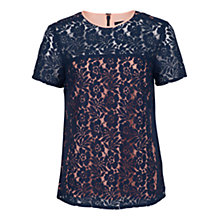 Buy French Connection Poppy Lace Top, Nocturnal Lace Online at johnlewis.com