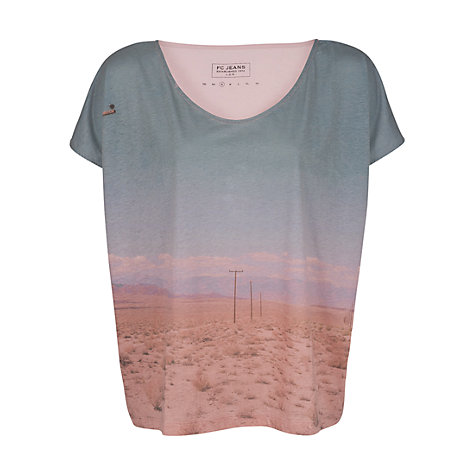 Buy French Connection Freeway Oversized T-Shirt, Blue/Pink Online at johnlewis.com