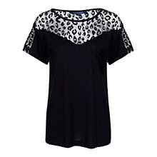 Buy French Connection Leopard Lace Jersey Top, Black Online at johnlewis.com
