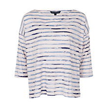 Buy French Connection River Stripe Slach Neck Top, Power Blue Online at johnlewis.com