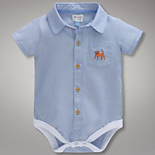 Buy John Lewis Baby Oxford Shirt Bodysuit, Blue Online at johnlewis.com