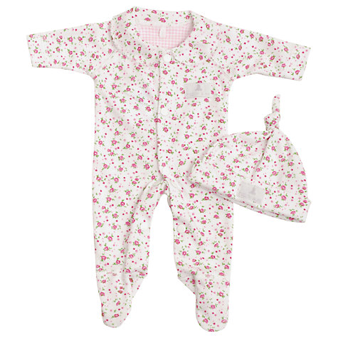 Buy Teddy & Me Rose Sleepsuit and Hat Set, Pink Online at johnlewis.com