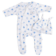 Buy Teddy & Me Sailor Sleepsuit and Hat Set, Blue Online at johnlewis.com