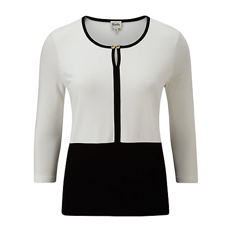 Buy Viyella Colour Block Top, Black/Ivory Online at johnlewis.com