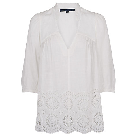 Buy French Connection Lady Smock Top, White Online at johnlewis.com