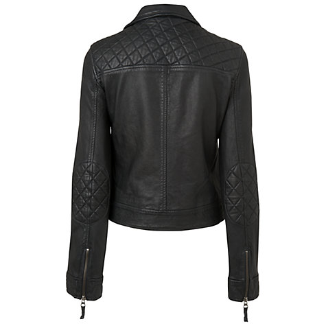 Buy Boutique by Jaeger Leather Biker Jacket, Black Online at johnlewis.com