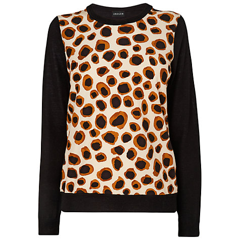 Buy Jaeger Leopard Print Jumper, Black Online at johnlewis.com