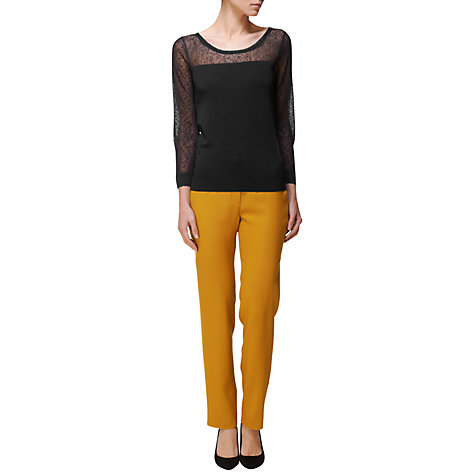 Buy Jaeger Textured Weave Ankle Trousers, Gold Online at johnlewis.com