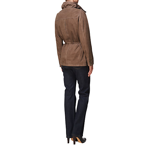 Buy Jaeger Suede Parka Coat, Taupe Online at johnlewis.com