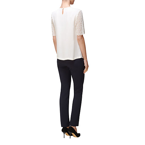 Buy Jaeger Embroidered Front Blouse, Ivory Online at johnlewis.com