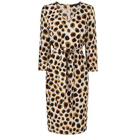Buy Jaeger Circle Leopard Print Easy Shift Dress, Ivory Online at johnlewis.com