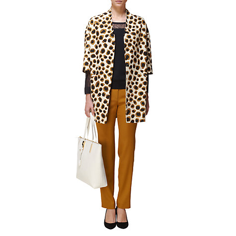 Buy Jaeger Leopard Spring Coat, Ivory Online at johnlewis.com
