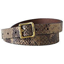 Buy Fossil Skinny Boyfriend Snake Skin Print Leather Belt, Dark Smoke Online at johnlewis.com