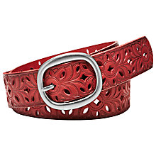 Buy Fossil Floral Perforated Leather Belt, Tomato Online at johnlewis.com