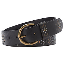 Buy Fossil Painted Flower Detail Leather Belt, Black Online at johnlewis.com