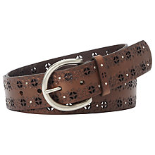 Buy Fossil Signature Embossed Leather Belt, Brown Online at johnlewis.com