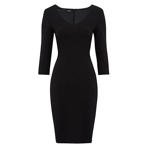 Buy Hobbs Fionn V-Neck Dress, Black Online at johnlewis.com