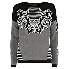 Buy Warehouse Baroque Striped Jumper, Black Online at johnlewis.com