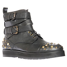 Buy KG by Kurt Geiger West Stud Detail Buckle Ankle Boots, Black Online at johnlewis.com