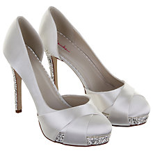 Buy Rainbow Club Christy Crystal Platform Satin Court Shoes, White Online at johnlewis.com