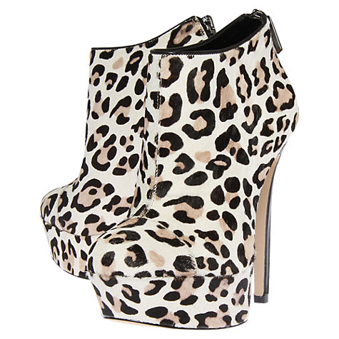 Buy Carvela Santana Leopard Print Platform Stiletto Heel Shoe Boots, White Online at johnlewis.com