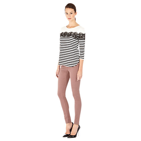 Buy Warehouse Lace Striped Top, Black/Multi Online at johnlewis.com