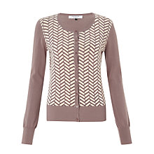 Buy COLLECTION by John Lewis Liana Herringbone Cardigan, Mocha/Cream Online at johnlewis.com