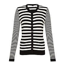 Buy COLLECTION by John Lewis Halie Striped Cardigan, Black/Cream Online at johnlewis.com