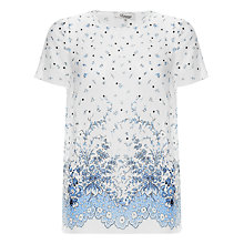 Buy Somerset by Alice Temperley Border Print Silk Top, Blue/Ivory Online at johnlewis.com