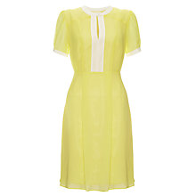 Buy Somerset by Alice Temperley Contrast Trim Silk Dress, Lemon Online at johnlewis.com