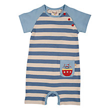 Buy Frugi Baby Boat Captain Organic Cotton Romper, Blue/Natural Online at johnlewis.com