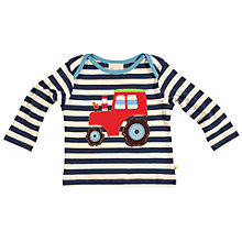 Buy Frugi Baby Striped Tractor Organic Cotton Top, Multi Online at johnlewis.com