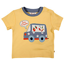 Buy Frugi Baby Ice Cream Van Applique Organic Cotton Tee, Yellow Online at johnlewis.com