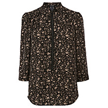 Buy Warehouse Camouflage Ditsy Zip Tunic Top, Black Online at johnlewis.com