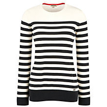 Buy Barbour Blossom Striped Crew Neck Jumper, Cream/Navy Online at johnlewis.com