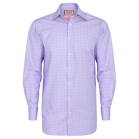 Buy Thomas Pink XL Sleeves Maynard Check Shirt, Lilac Online at johnlewis.com