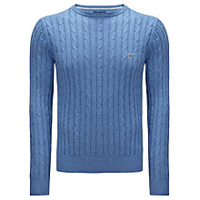 Buy Gant Knitted Cotton Crew Neck Jumper Online at johnlewis.com