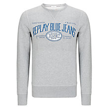 Buy Replay Logo Crew Neck Jersey Jumper, Grey Online at johnlewis.com