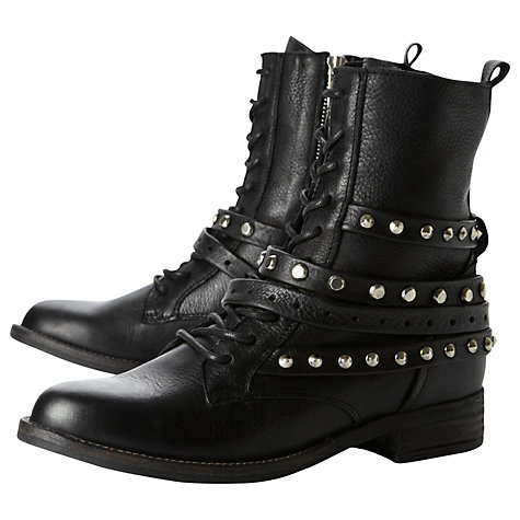 Buy Dune Princed Studded Leather Lace Up Ankle Boots, Black Online at johnlewis.com