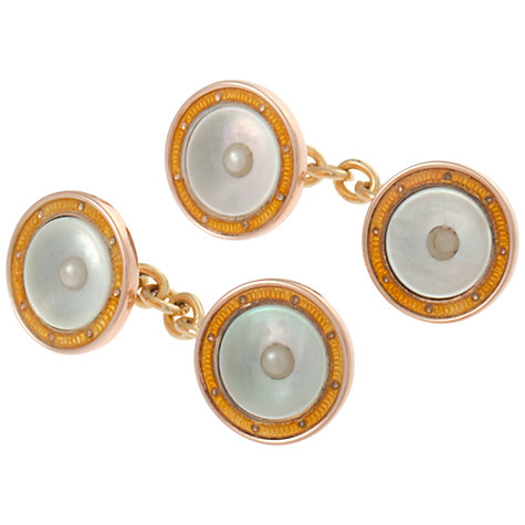 Buy Jenny Knott Mother-of-Pearl Edwardian Rose Gold Cufflinks, Gold Online at johnlewis.com