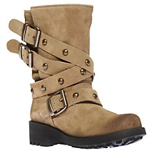 Buy Carvela Sammy Buckle Detail Suede Boots, Taupe Online at johnlewis.com