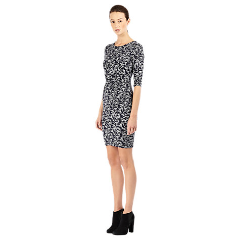 Buy Warehouse Bird Print Dress, Blue Online at johnlewis.com