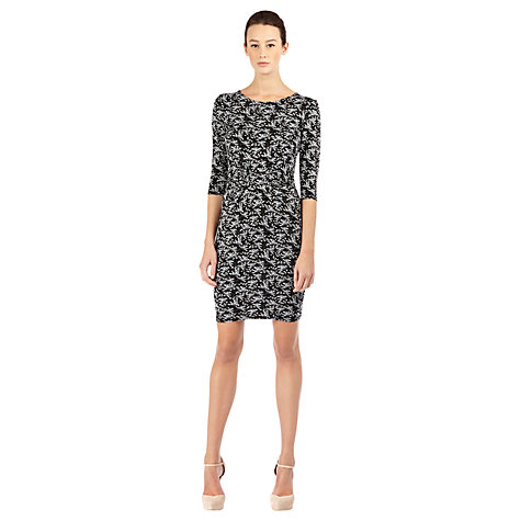 Buy Warehouse Bird Print Dress, Black Pattern Online at johnlewis.com