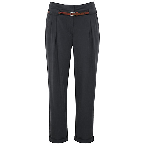 Buy Kaliko Belted Twill Trousers, Dark Grey Online at johnlewis.com