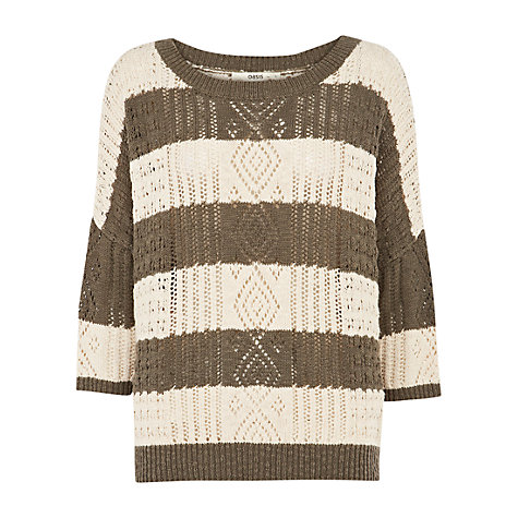 Buy Oasis Pointelle Wide Stripe Easy Jumper Online at johnlewis.com