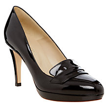 Buy Hobbs Samantha Patent Leather Almond Toe Platform Court Shoes, Black Online at johnlewis.com